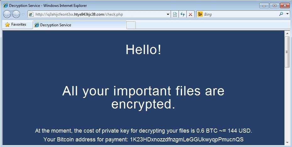 Screen shot of ransomware attack prior to cryptolocker removal