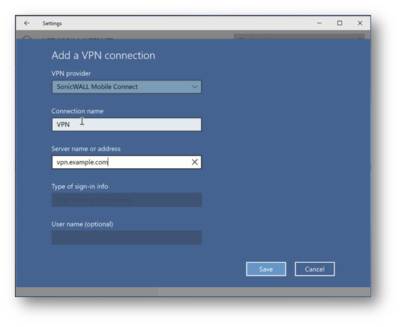 How to configure SonicWall Mobile Connect on Windows 10